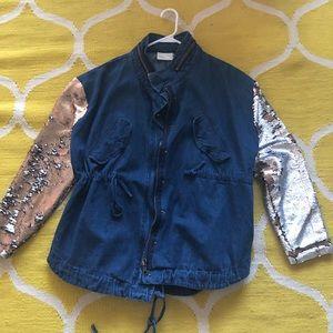 Sequined sleeve jean jacket